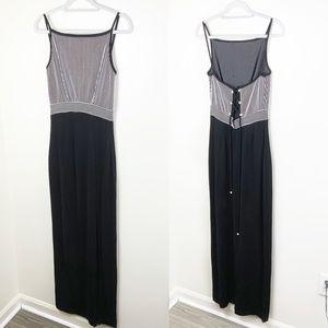 Tadashi Maxi Dress W/ High Slit   Tie Up Back